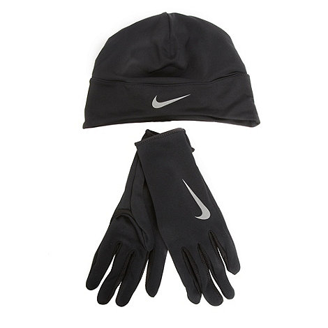 Nike - Black running beanie hat and gloves set