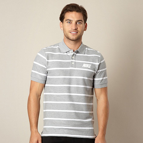Nike - Grey thin striped pique polo shirt