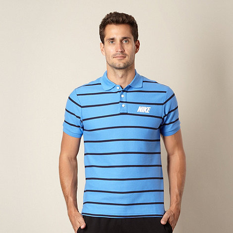 Nike - Blue thin striped pique polo shirt