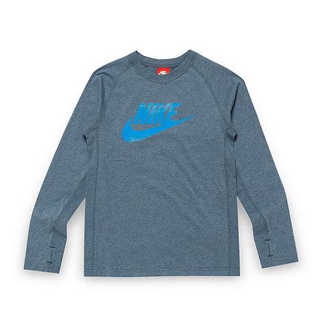 Nike - Boy+s mid blue logo top
