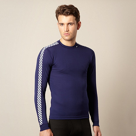 Helly Hansen - Navy striped sleeve thermal t-shirt