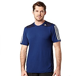 adidas - Navy mesh panel logo stripe t-shirt