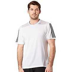 adidas - White mesh panel logo stripe t-shirt