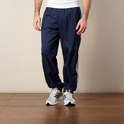 adidas - Dark blue logo stripe jogging bottoms