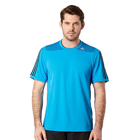 adidas - Blue mesh panel logo stripe t-shirt