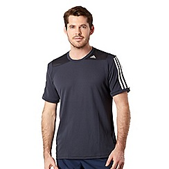 adidas - Dark grey mesh panel logo stripe t-shirt