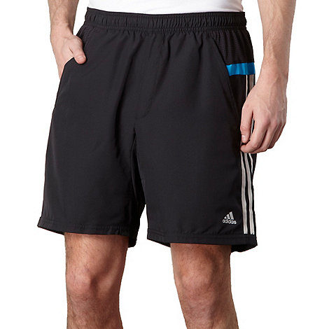 adidas - Black logo striped gym shorts
