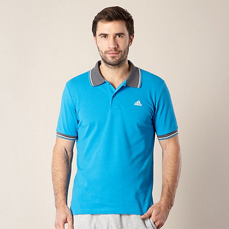 adidas - Blue striped sleeve pique polo shirt