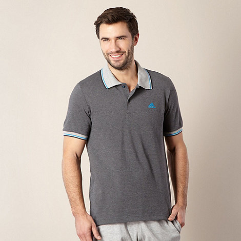 adidas - Grey striped sleeve pique polo shirt