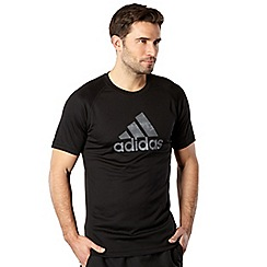 adidas - Black logo print performance t-shirt