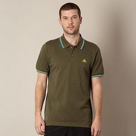 adidas - Dark green twin tipped pique polo shirt