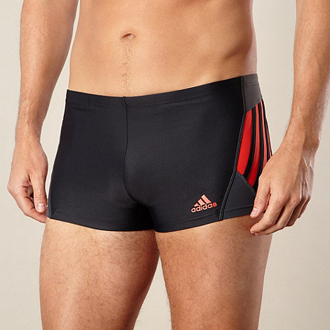 adidas - Black logo striped swim shorts