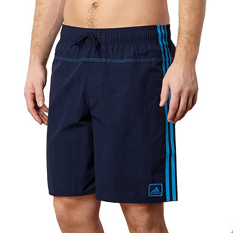 adidas - Blue logo striped swim shorts