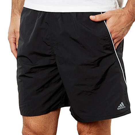 adidas - Black three stripe swim shorts