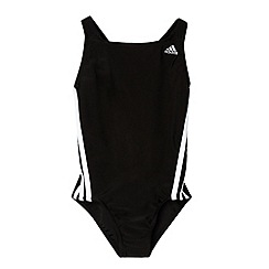 adidas - Girl's black striped swimsuit