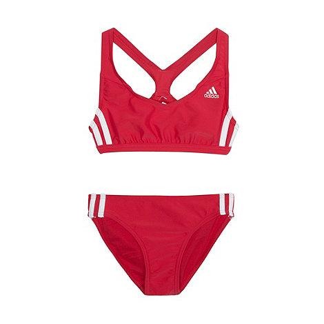 adidas - Girl+s pink striped two piece swimsuit