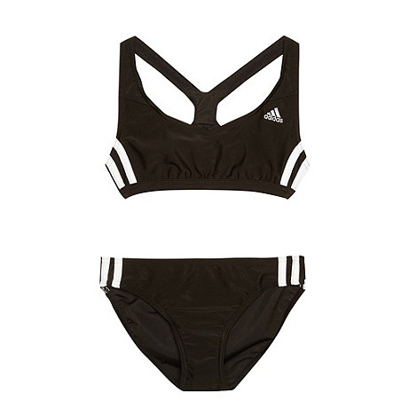 adidas - Girl+s black striped two piece swimsuit