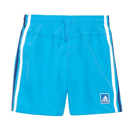 adidas - Boy+s bright blue side striped swim shorts