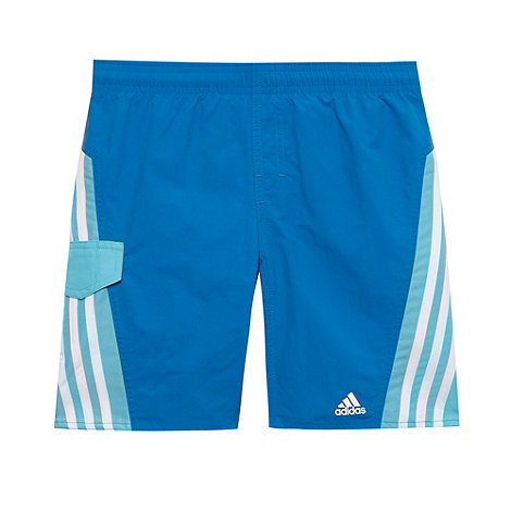adidas - Boy+s blue striped swim shorts