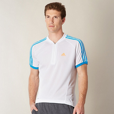 adidas - White zip neck cycling t-shirt