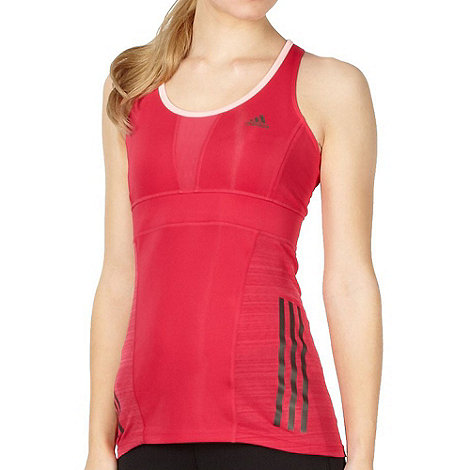 adidas - Pink reflective logo stripes support vest top