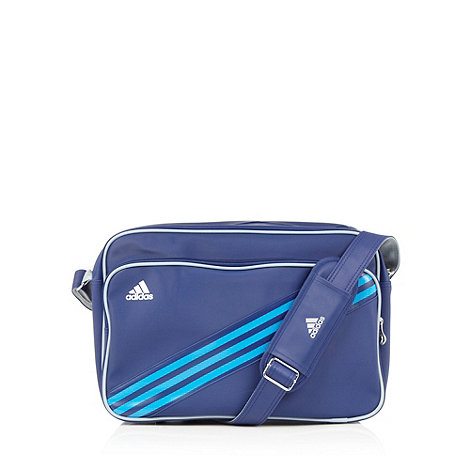 adidas - Blue logo stripe messenger bag