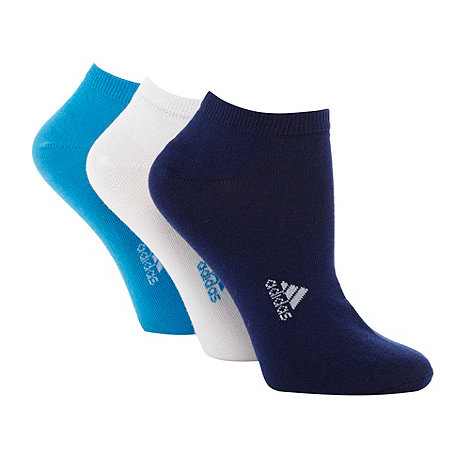 adidas - Pack of three blue logo design trainer socks