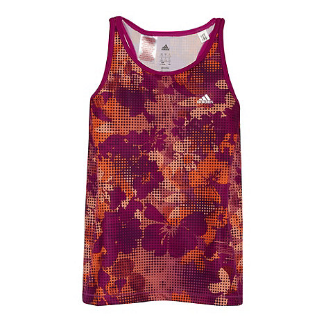 adidas - Girl+s pink floral spotted tank top