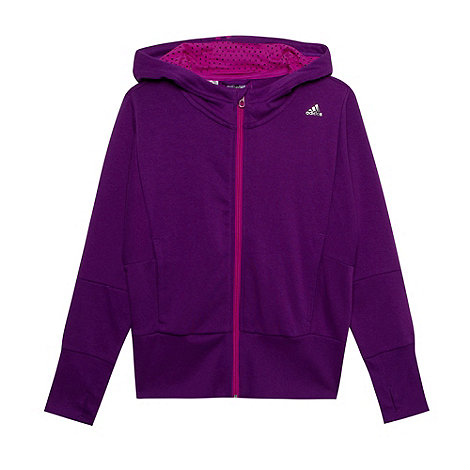 adidas - Girl+s purple zip through sweat hoodie