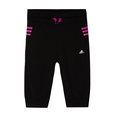 adidas - Girl+s black three quarter jogging bottoms