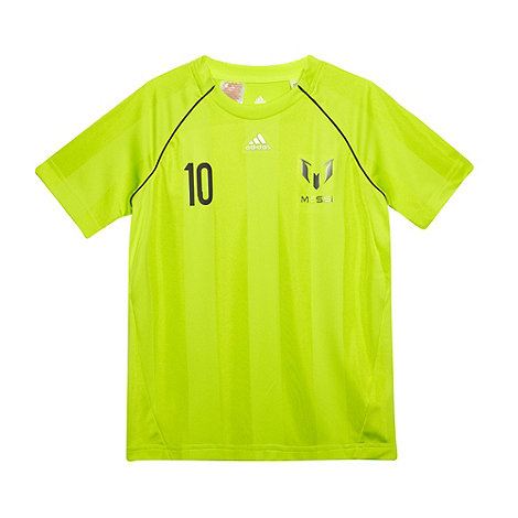 adidas - Boy+s bright green Messi t-shirt