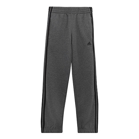 adidas - Boy+s grey logo stripe jogging bottoms