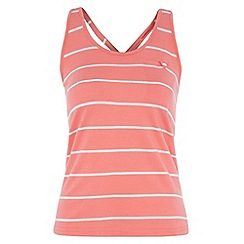 Roxy - Peach striped twist back vest top