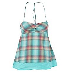 Roxy - Green woven plaid top
