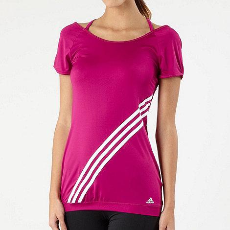 adidas - Dark pink white stripe sports t-shirt