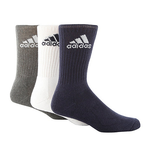 adidas - Pack of three white, black and grey sports socks