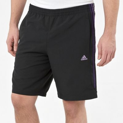 Black Three Stripe Fitness Shorts