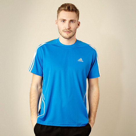 adidas - Blue textured panel t-shirt