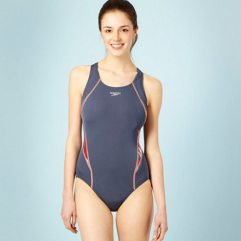 Speedo - Grey curved and patterned panel swimsuit