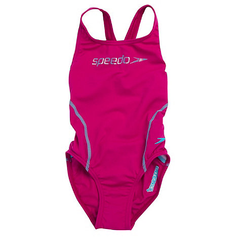 Speedo - Girl+s pink logo print swimsuit