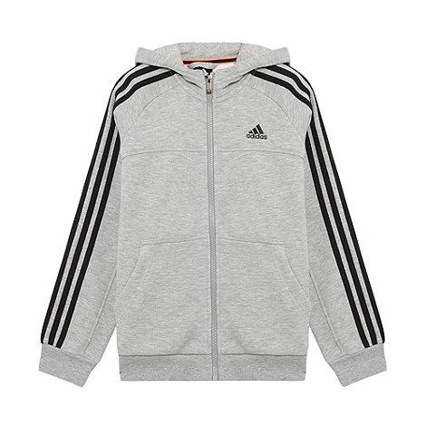 Adidas - Children+s grey fleece lined hoodie