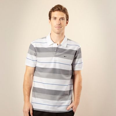 Nike White striped pique polo shirt