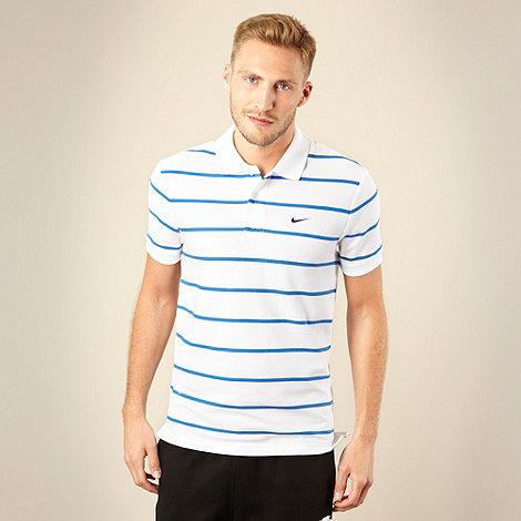 Nike - White fine striped polo shirt