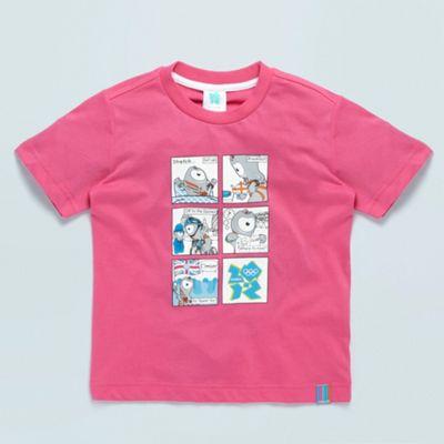 Pink junior mascots comic strip graphic t-shirt