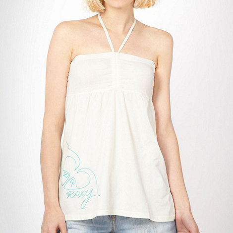 Quiksilver - Cream embroidered halter top