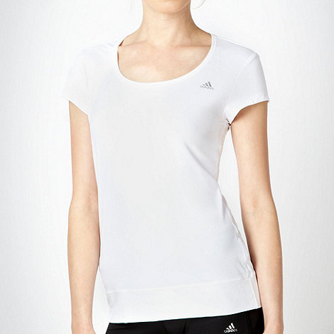 adidas - White slim fitting training t-shirt