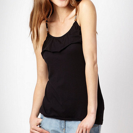 Roxy - Black frill bead camisole