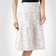 White floral printed flared skirt