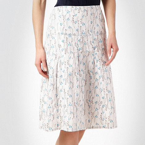 Weird Fish - White floral printed flared skirt