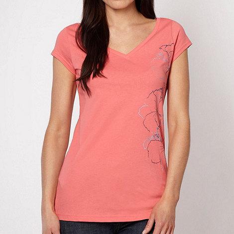 O+Neill - Peach floral V neck t-shirt